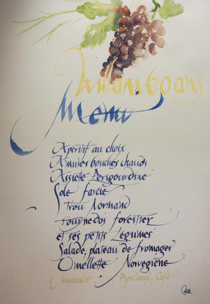 Grib Calligraphie Menu Aquarelle